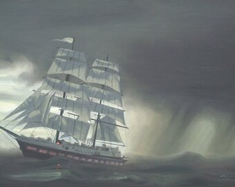 Clipper ship seascape storm boat 24x36 oils on canvas painting by RUSTY RUST / M-345