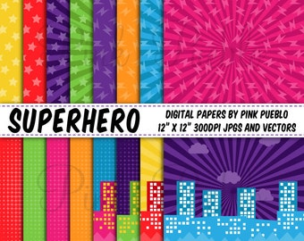 Superhero Digital Papers, Superheroes Scrapbook Paper and Backgrounds - Commercial and Personal Use