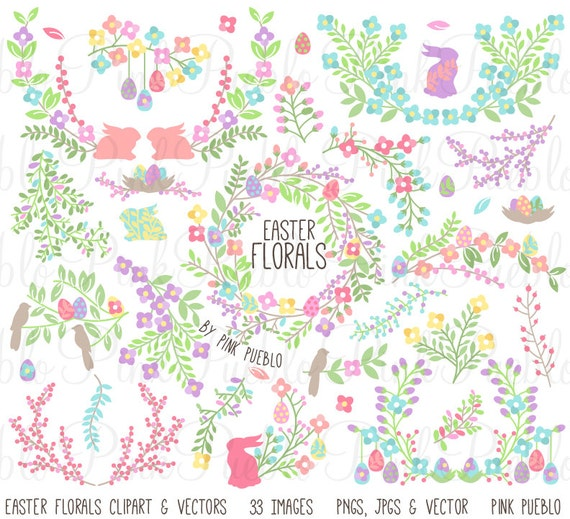 Easter Flower Clipart Clip Art Vintage Rustic Easter Laurel