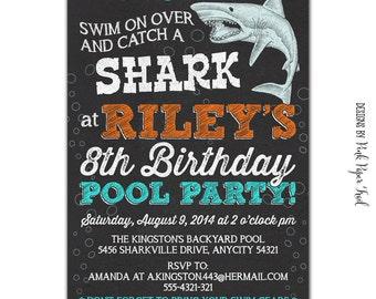 shark party invitations | etsy, Party invitations
