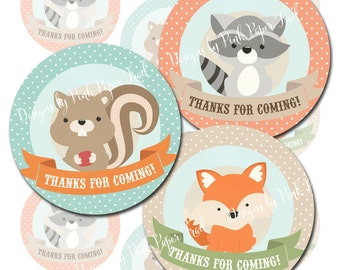 Woodland Party Favor Tags, Thank You Tags, Instant Download, Print Your Own