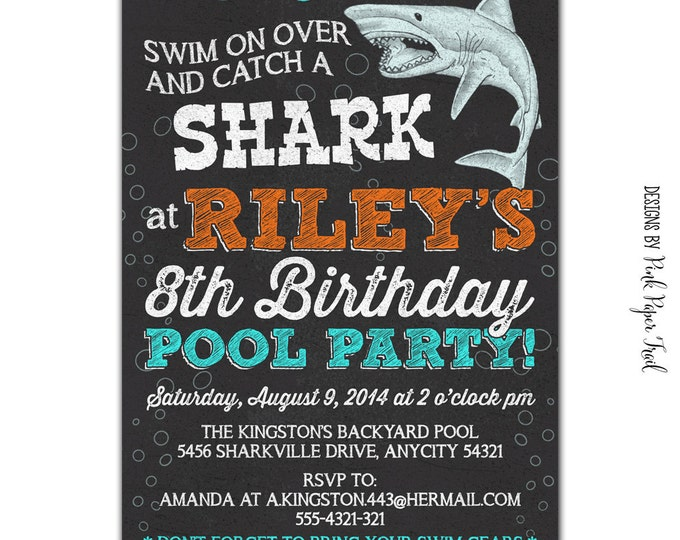Pool Party Invitation, Shark Birthday, Under the Sea, Chalkboard Invitation, Shark Party Invitation, Printable Invitation