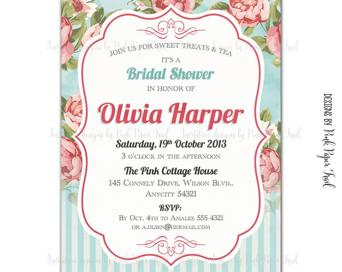 Shabby Chic Invitation Floral Tea Party High Tea Bridal Shower Printable Invitation