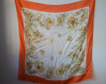 1950s Silk Scarf Orange Border with Hand Rolled Hems Beautiful Flowers in Orange Yellow Green on White Background Old and Fabulous
