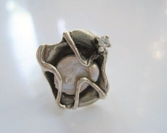 Israeli Ring - Silver and Baroque Pearl - Zircon Ring - Size 7 - Statement Multi Stone Ring