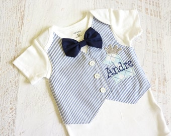 Personalized Little Prince First Birthday Tuxedo Bodysuit Vest with Removable Navy Blue Bow Tie