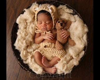 Newborn Bear Bonnet and Teddy Bear Set - Newborn Photo Prop, Bear Hat, Crochet Teddy Bear, Bear Hat and Diaper Cover
