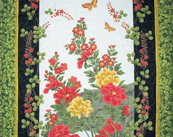 Floral Wall Hanging, Asian, Table Runner, quilted,  fabric from Timeless Treasures Lotus line