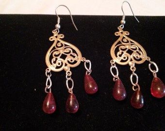 Vintage Red Glass Bead earings