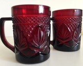 2 Cris D'Arques Durant Crystal French Ruby Red Handle Glasses