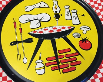 Vintage Mid Century Barbecue Cookout Platter For Grilling 1950s