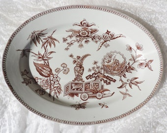 Antique Brown Transferware Platter Made in England by Teismore & Son Aesthetic Design Stamped PG  Free Shipping