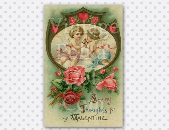 Vintage Valentine Card Angels