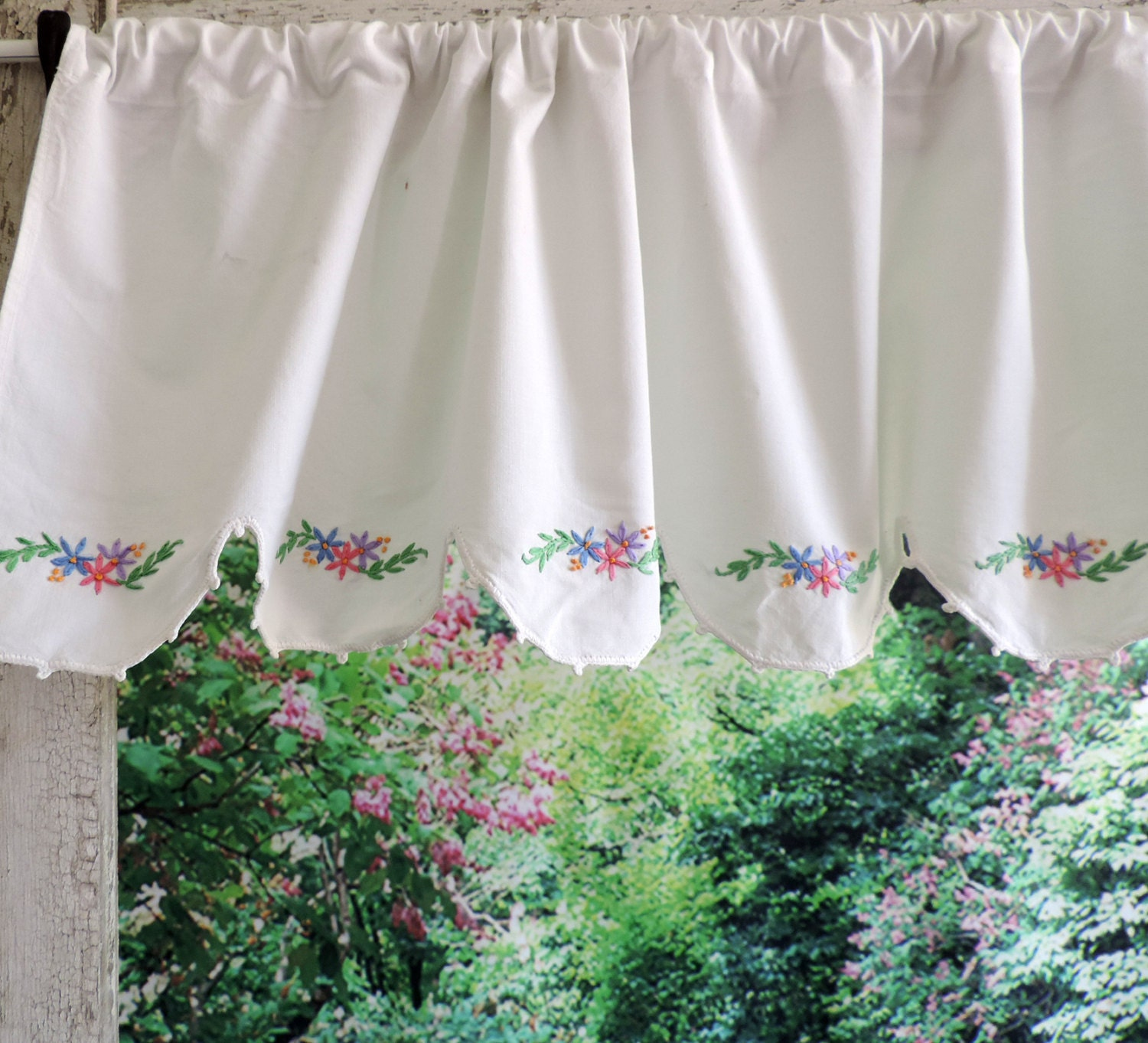 Vintage Lace Curtains Valance Free Shipping By