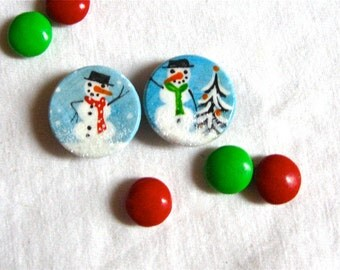 SNOWMAN MAGNETS hand painted set