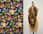 90s Vintage Nicole Miller Large Silk Scarf with Junk Food Chips and Snacks