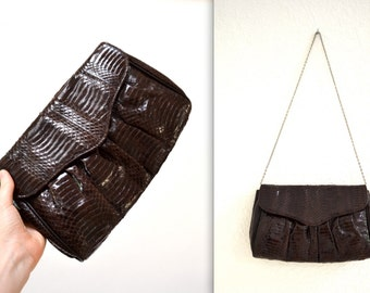 Vintage Brown Leather Clutch Snakeskin Python// Brown Patent Leather Snake Skin Bag Purse by Timothys Collection