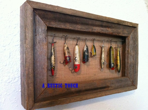 Rustic fishing lure display case for Fishing lure display