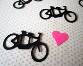 Tandem Bike and Hearts Wedding Confetti, Die Cut, Bicycle Built For Two, Scrapbook Card Making Party Decor, Color Options