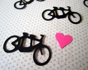Tandem Bike Confetti with Hearts, Wedding Confetti, Die Cut, Bicycle Built For Two, Scrapbook Card Making Party Decor, Color Options