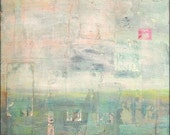 "Abstract Art Print: Mixed Media print, Vintage Inspired Art, Wall Art, Contemporary print, 5x7, 8x10 or 11x14, aqua, pink, ""Awaken"""