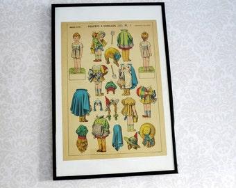 French Paper Dolls, Paperdolls, Antique French Paper Doll Illustration Frameable Art, Childrens Art, Nursery  Decor, Vintage Paper Dolls