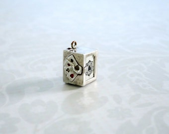 Silver Wash Deck of Cards Pendant  Charm  -  Micro Miniature Bracelet Charm Pendant  -  Vintage Jewelry Supply Assemblage
