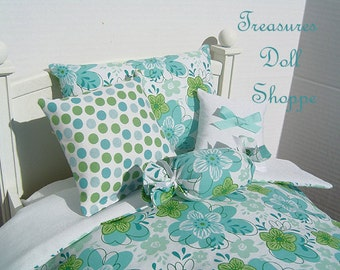Doll Bedding 5 Pc Set for 18 Inch Dolls - Shabby Floral in Blue