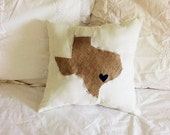 Texas Lovers Custom State Throw Pillow burlap state with navy heart