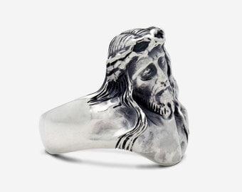 Sterling Silver Jesus Ring