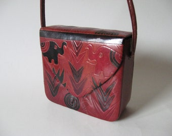 The 90s called... exotic tropical elephant print leather box purse cross body red green pink