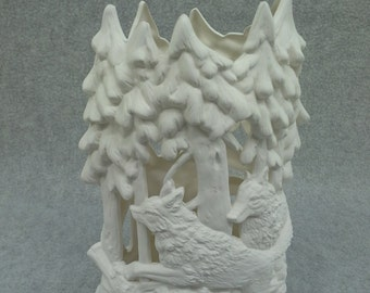 Ceramic Wolf Candle Holder Bisque (unfinished)