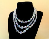Triple Strand Graduated Aurora Borealis Faceted Crystal Beaded Necklace
