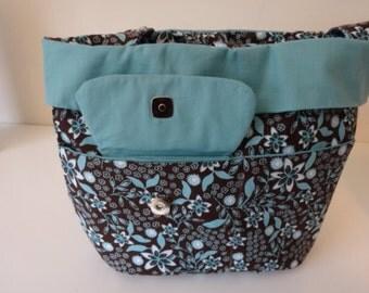 Turquoise and Floral Print Handbag