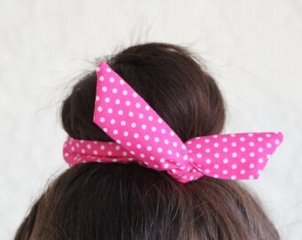 "Wire Bun Wrap, Top Knot Wire Wrap Hot Pink Polka Dots  ""Mini"" Dolly Bow Wire Headband Ponytail Hair tie Hair Bun Tie Wrap"