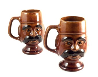 Mustache Coffee Mugs, Set of 2 Funky Vintage Turkish Coffee Cups, Brown Ceramic Fez Hat Cup