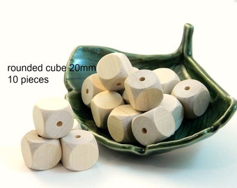 Wooden Rounded Cube Beads - large sqare beads - 10 pieces