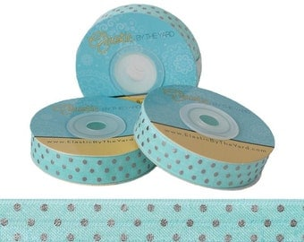"Aqua with Silver Dots - Fold Over Elastic - Solid FOE - 5/8"" Wide - 5 Yards Wholesale"