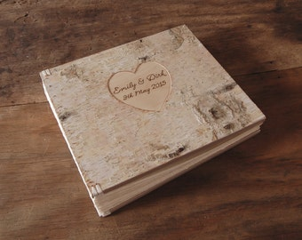 custom birch wood wedding photo album - unique anniversary gift wood book rustic natural wedding family memorial personalized  made to order