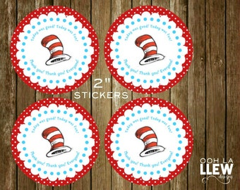 """Dr. Suess Thank You 2"""" Round Stickers"""