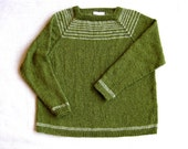 Hand-knit Alpaca Pullover Sweater in Moss Green