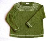 Main-tricot alpaga Pullover Sweater en vert mousse