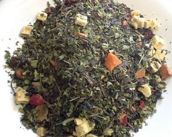 Moringa Tea with Summer Fruit, Moringa and Green Tea, 2 oz. of loose leaf Moringa Tea, Healthy Tea,  Organic Moringa Leaf Tea
