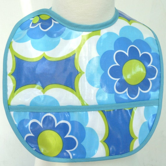 Waterproof Pocket Bib - Blue Green Laminated Cotton and Flannel