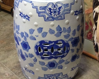 Ceramic Blue and White Asian Stool Garden Stool Footstool blue and White