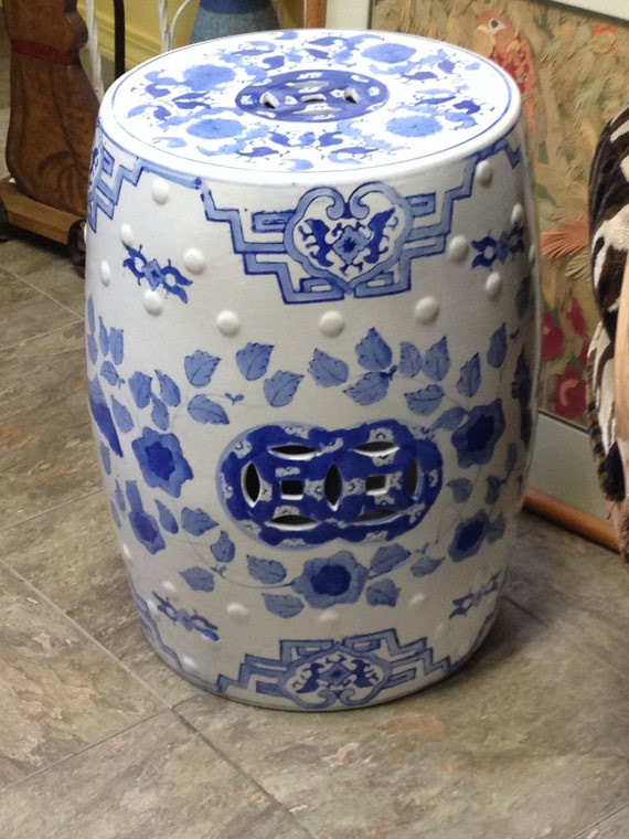 ceramic blue and white asian stool garden stool footstool blue