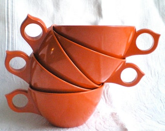 Orange Cups Melamine Melmac Mid Century Cups 1950s, 1960s, Set of 5