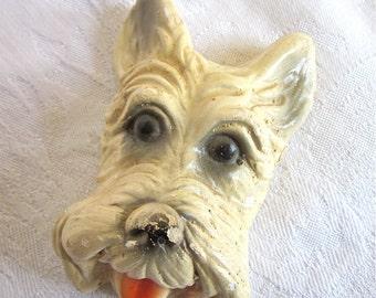 Westie White Dog Wall Hanging Highland Terrier Chalkware Home Decor Retro 1950s