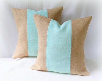 Burlap Pillow Cover SET/ Aqua and Tan