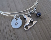 Ice Skate Bangle Bracelet- Adjustable Bangle Bracelet with Hand-Stamped Initial, Ice Skate Charm, and accent bead of choice